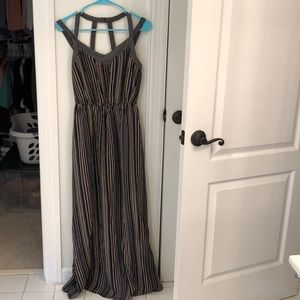 Never worn black striped maxi dress